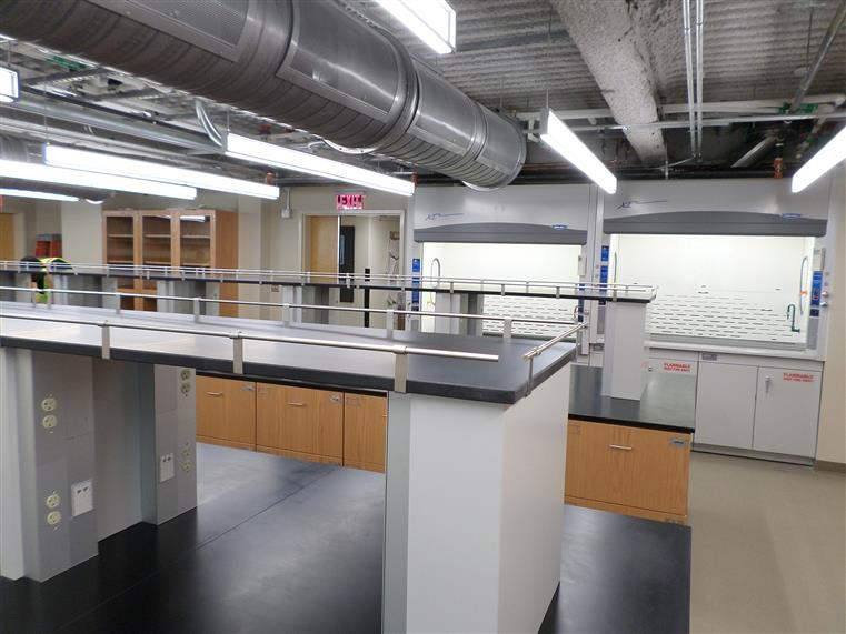 Science lab with exposed ceilings, duct work showing