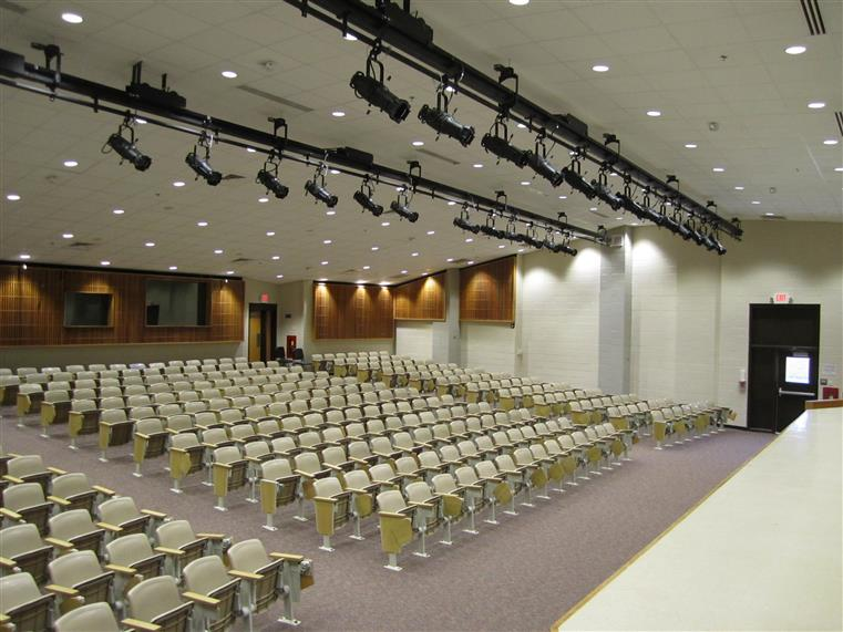 Auditorum with theater seating and lights above