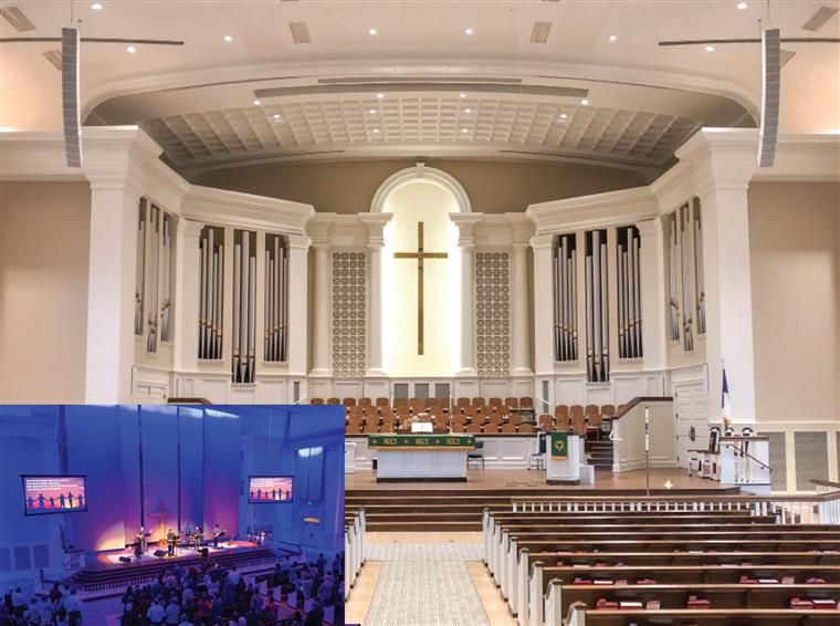large picture of traditional church and smaller inset picture of contemporary service