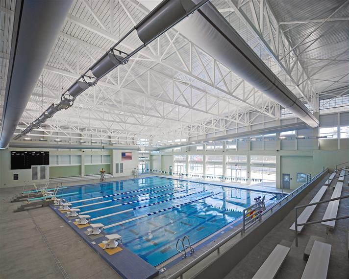 aquatic - pool - competition pool with spectator seating showing roped lanes