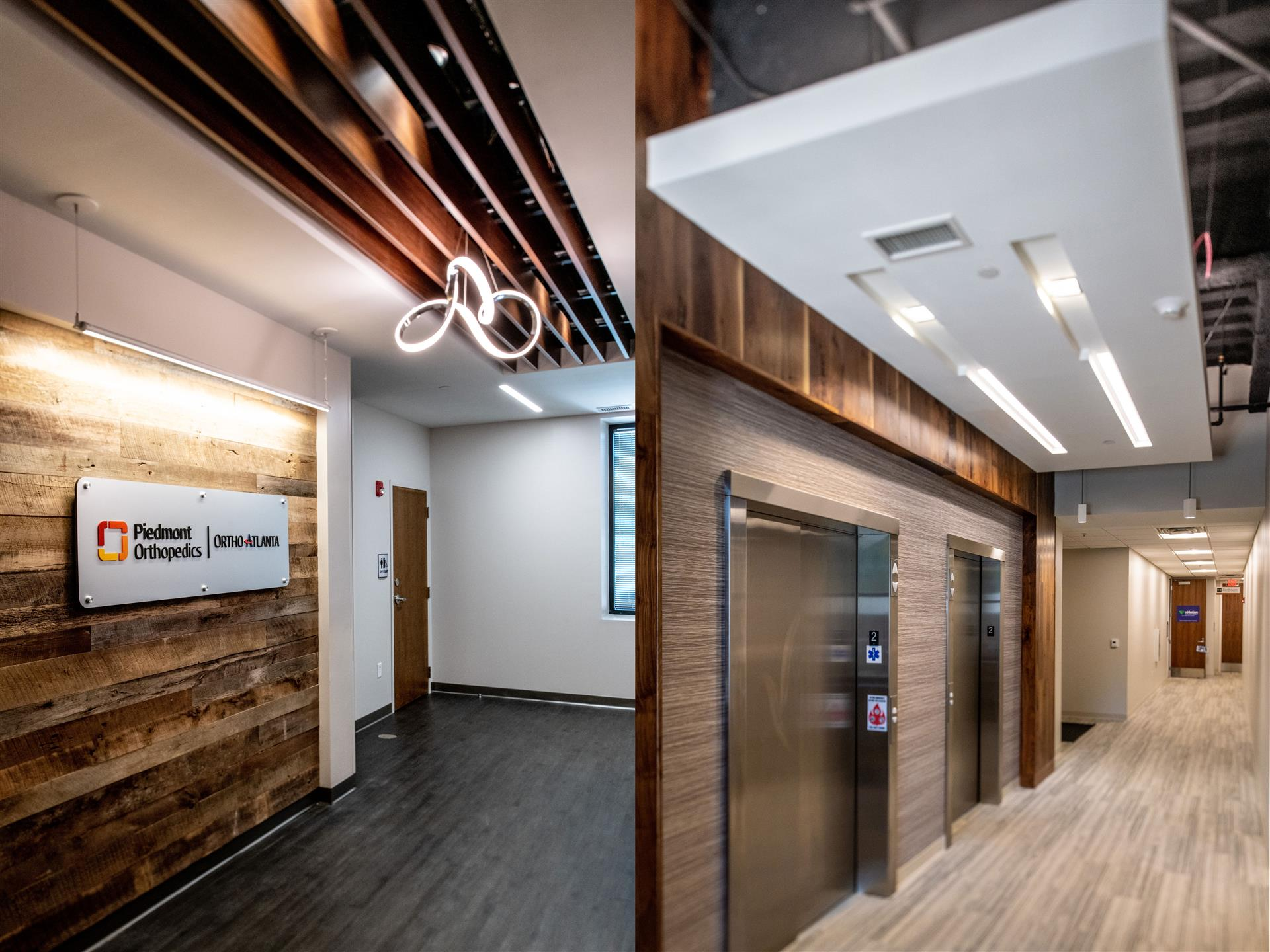 Interior shot as split screen; left side shows Piedmont Orthopeadics sign and door to their suite and right side shows the elevators and down a hallway