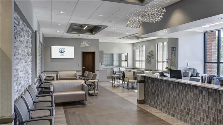 Waiting room for medical office building.  Gray and tan colors
