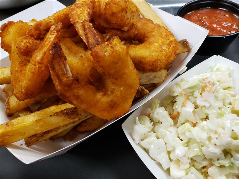 Panko Breaded Shrimp with fries and coleslaw