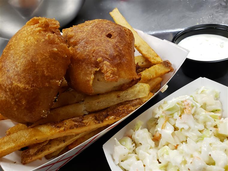 Beer Battered Cod with fries and coleslaw