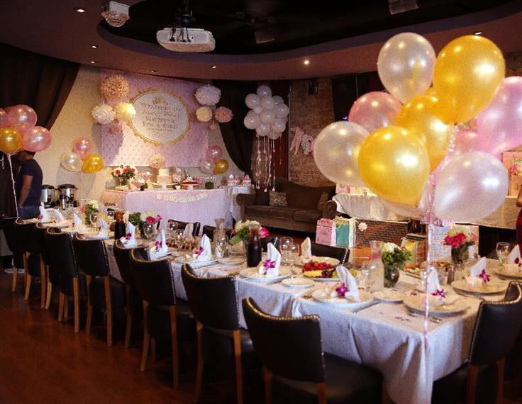 table decorated with balloons
