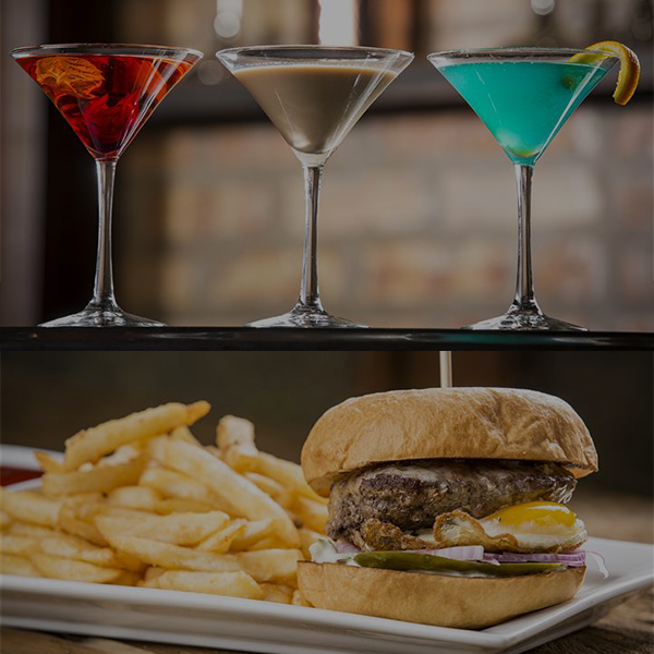 Bohemian Burger with fries and three martinis