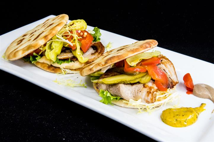 pork belly flatbread sandwich