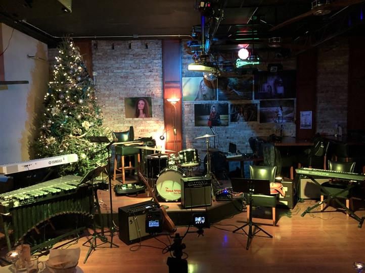 jazz stage with drums, guitar at christmas time