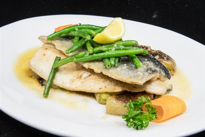 Pan fried Trout with green beans