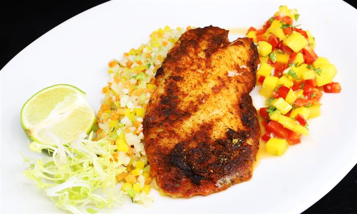 Blackened Grouper with Corn and Rice