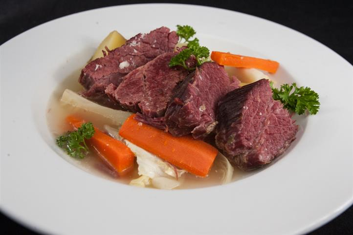 slow cooked corned beef brisket  / carrots / cabbage / potato