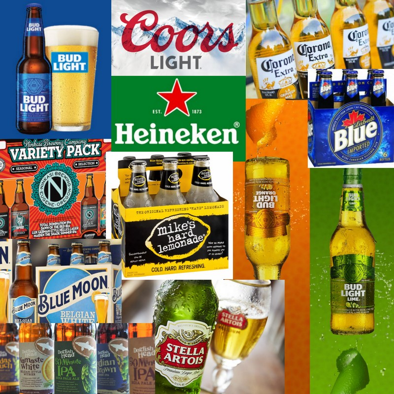 different brands of beer