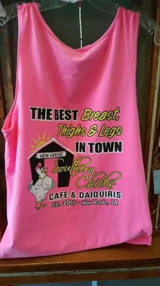 "tan top with the sentence ""the best breast, thighs & legs"" with southern chicks logo"
