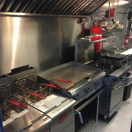 picture of the kitchen grill and fryers