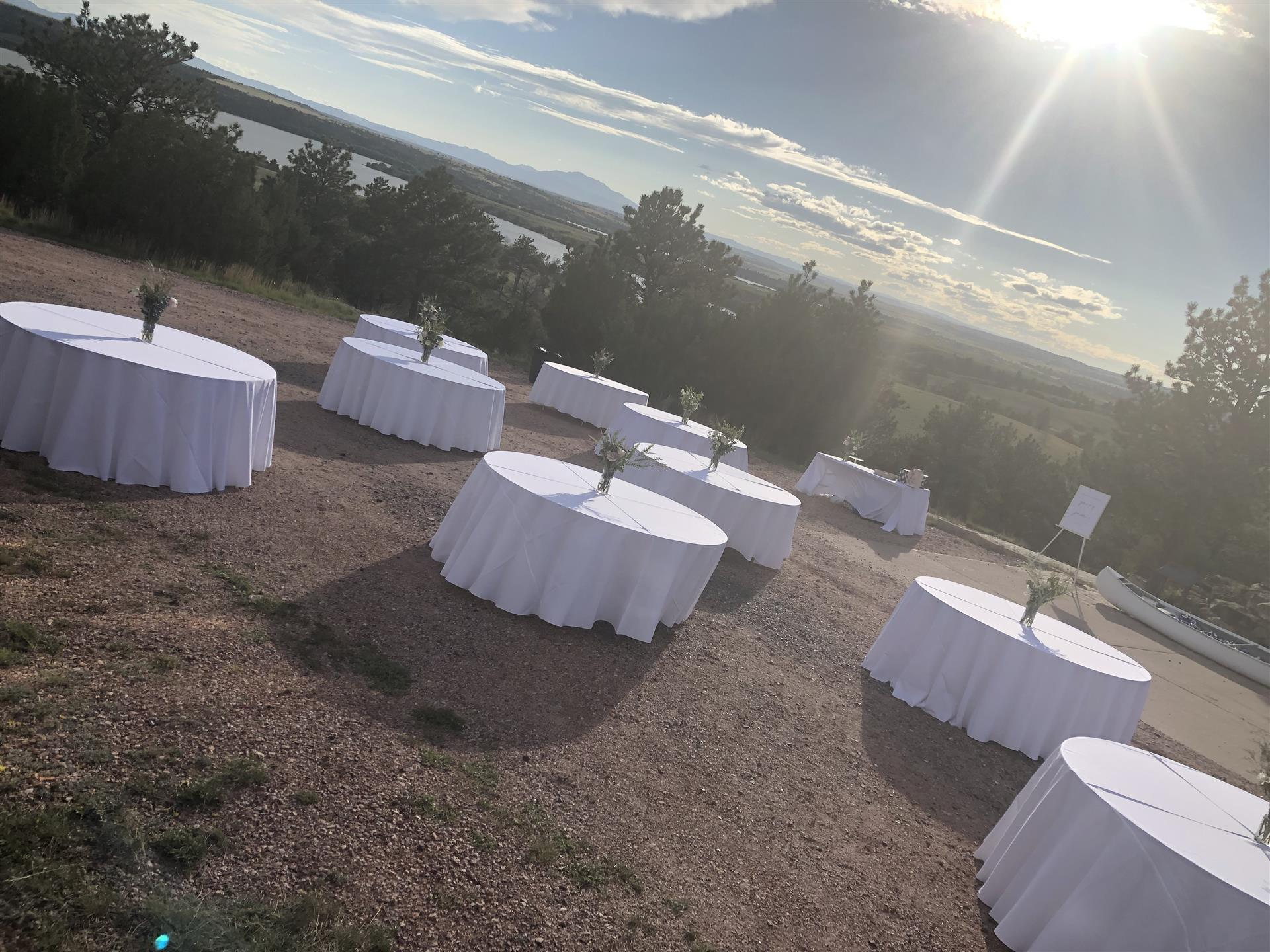 lake side wedding - tables set up