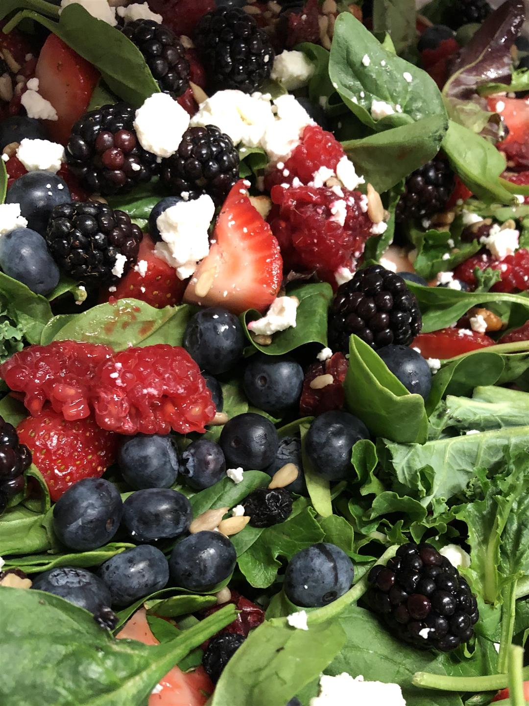 mountain berry salad with mixed greens, assorted berries and goat cheese