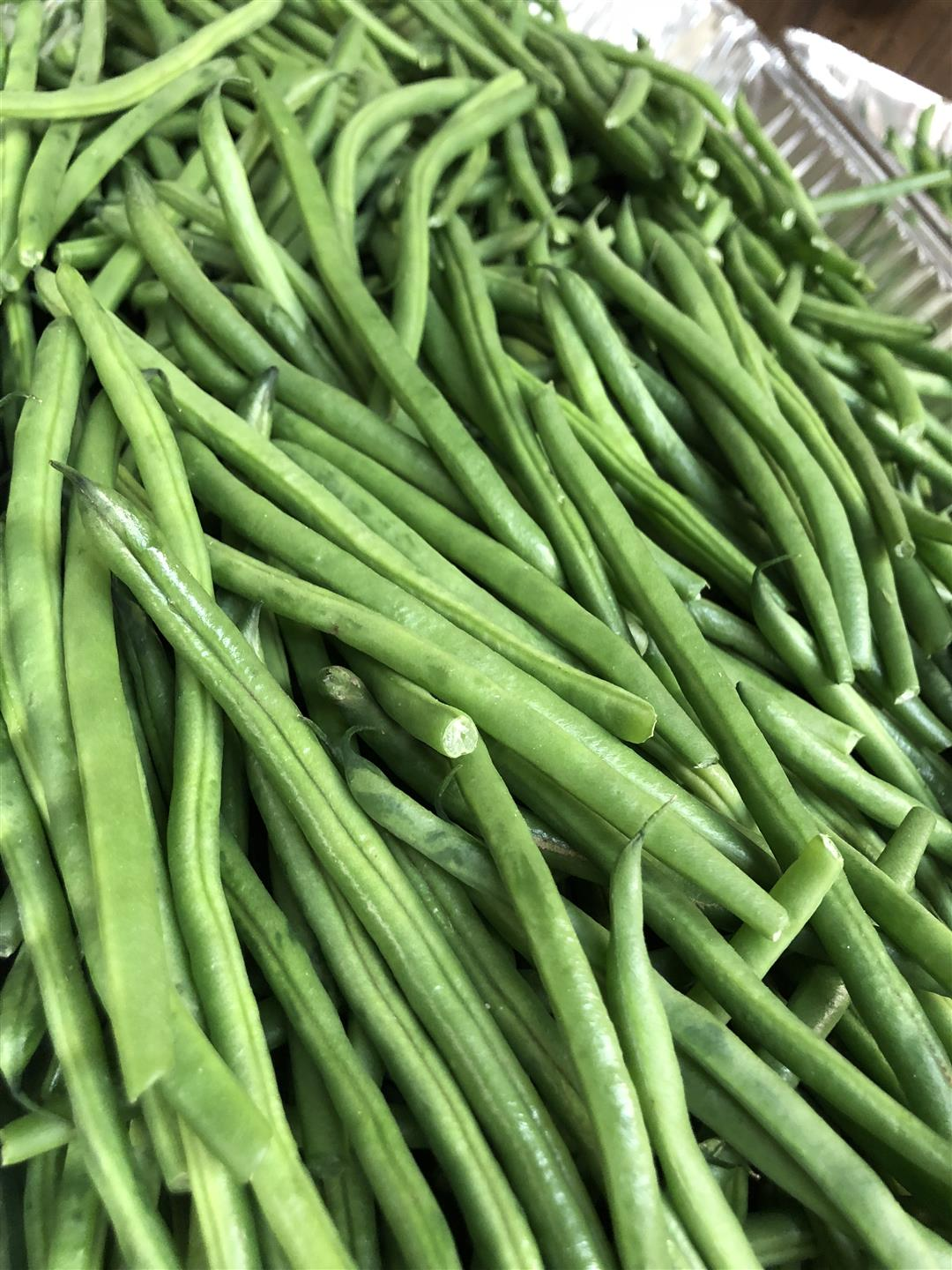 organic green beans in large foil tray