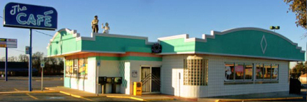 exterior side entrance of the cafe