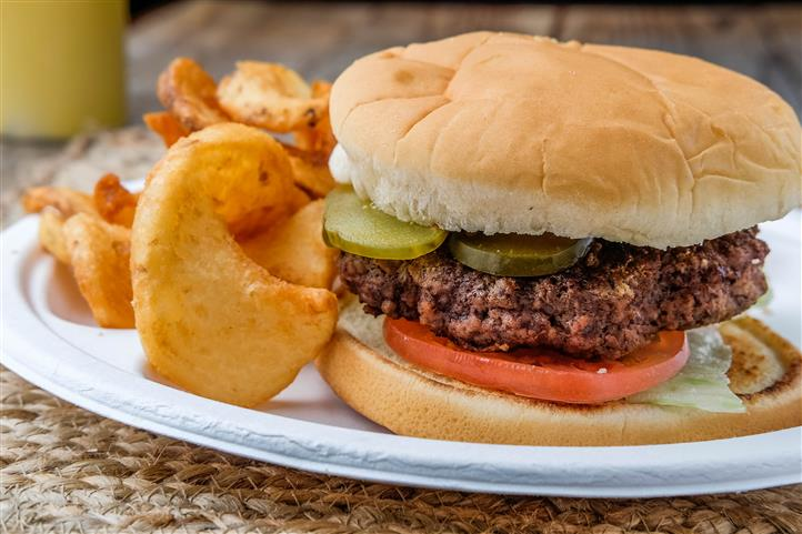 hamburger with tomatoes and pickles on a roll with chips