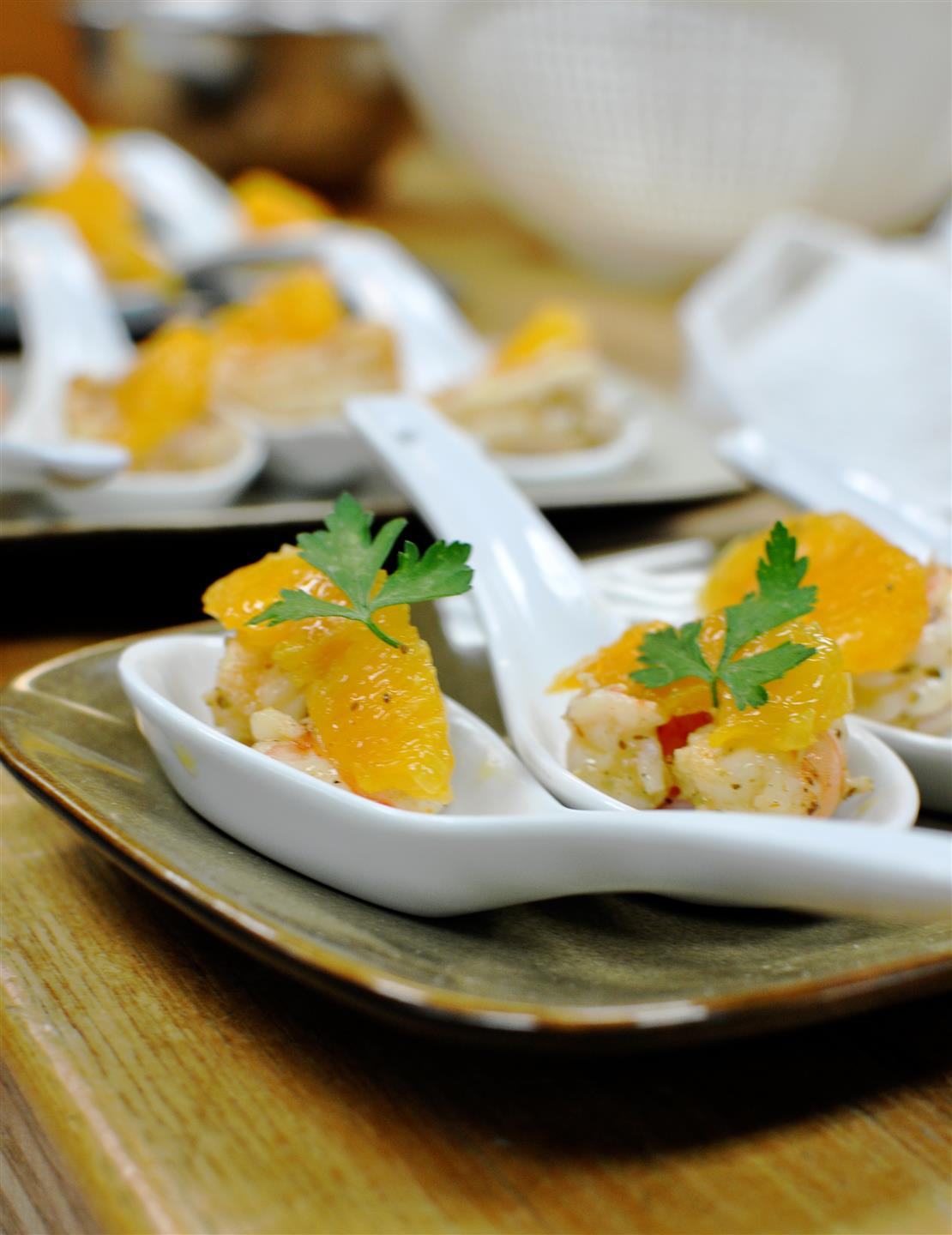 Grilled shrimp topped with mandarin oranges