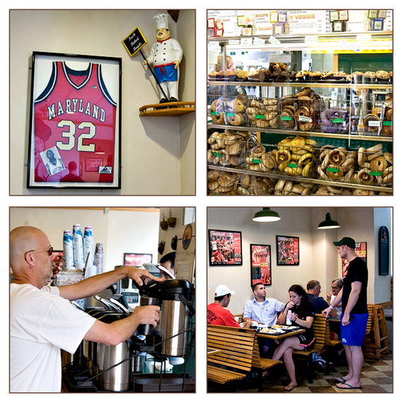Collage of four images - Maryland number 32 basketball jersey in fram on wall next to pizza chef figurine. Racks of assorted bagels on display. Man serving himself coffee from dispenser. Students and adults eating at dining tables.