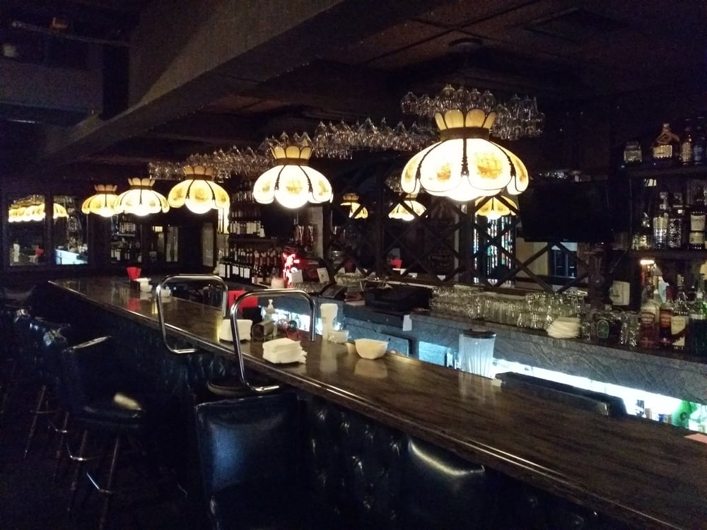 Chandeliers over bar top