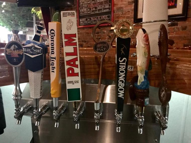 row of beer taps