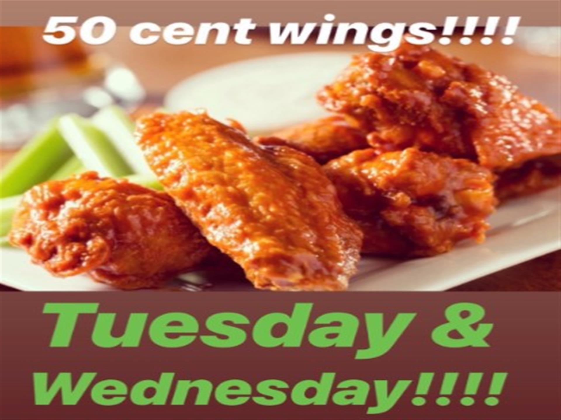50 cent wings, tuesday & wednesday with buffalo wings