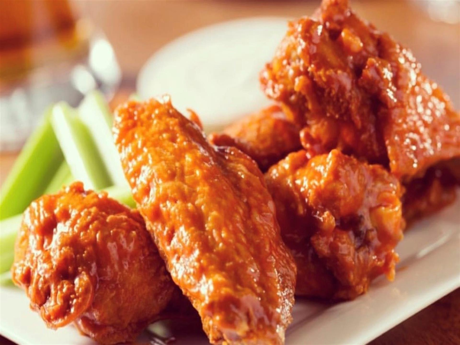 Buffalo Wings with celery and blue cheese
