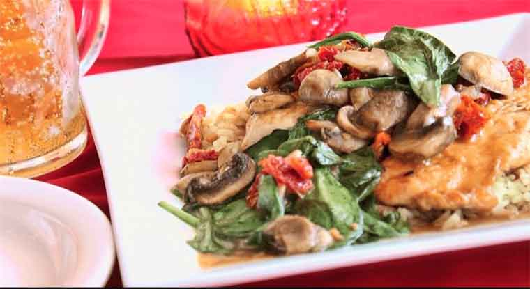 Chicken Marsala with mushrooms spinach and tomato