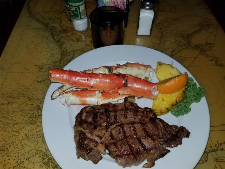crab legs with steak