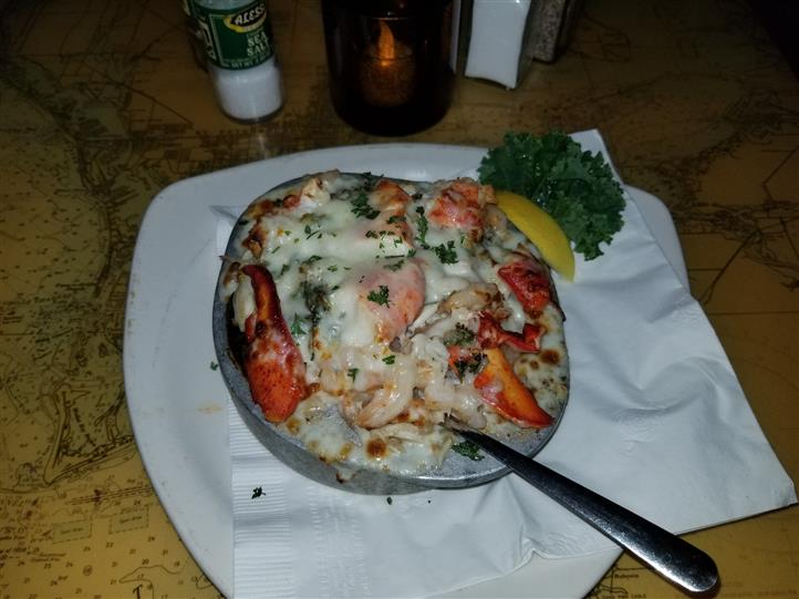 baked lobster entree in a bowl