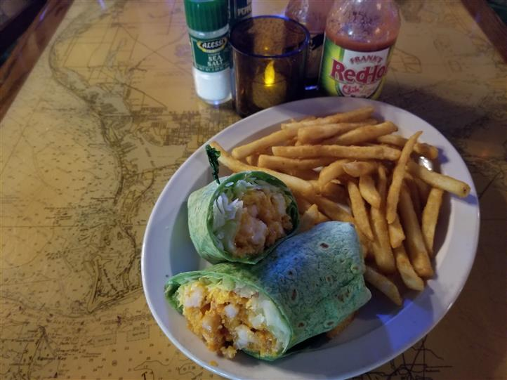 crispy chicken wrap with fries