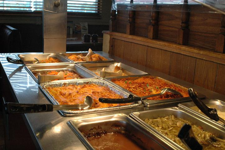 buffet assortment of pasta dishes