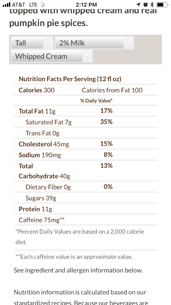 Nutrition facts label for a Starbucks tall pumpkin spice latte