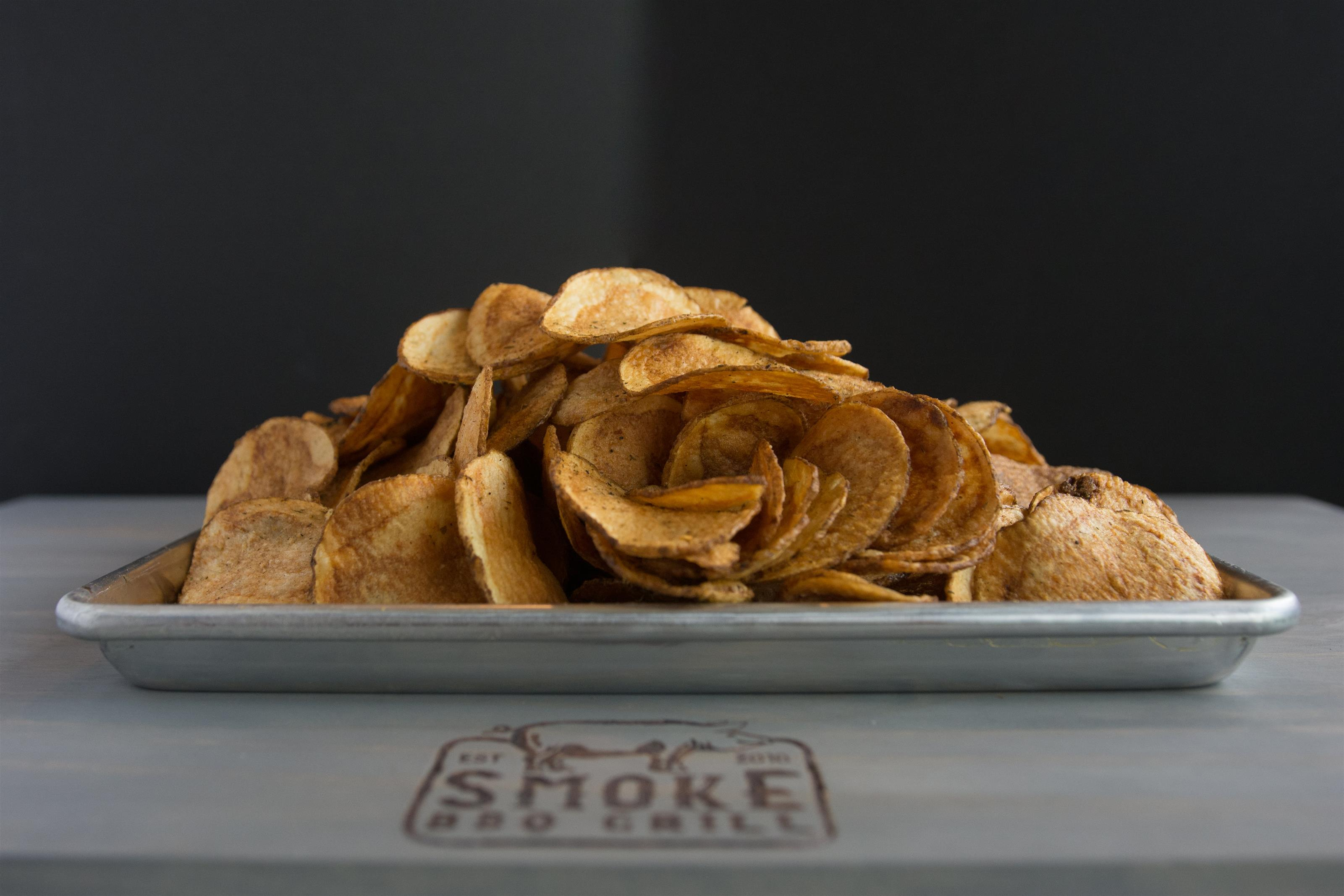 a platter of potato chips