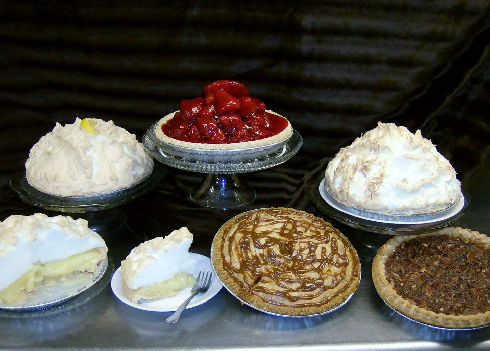 assorted pies on display
