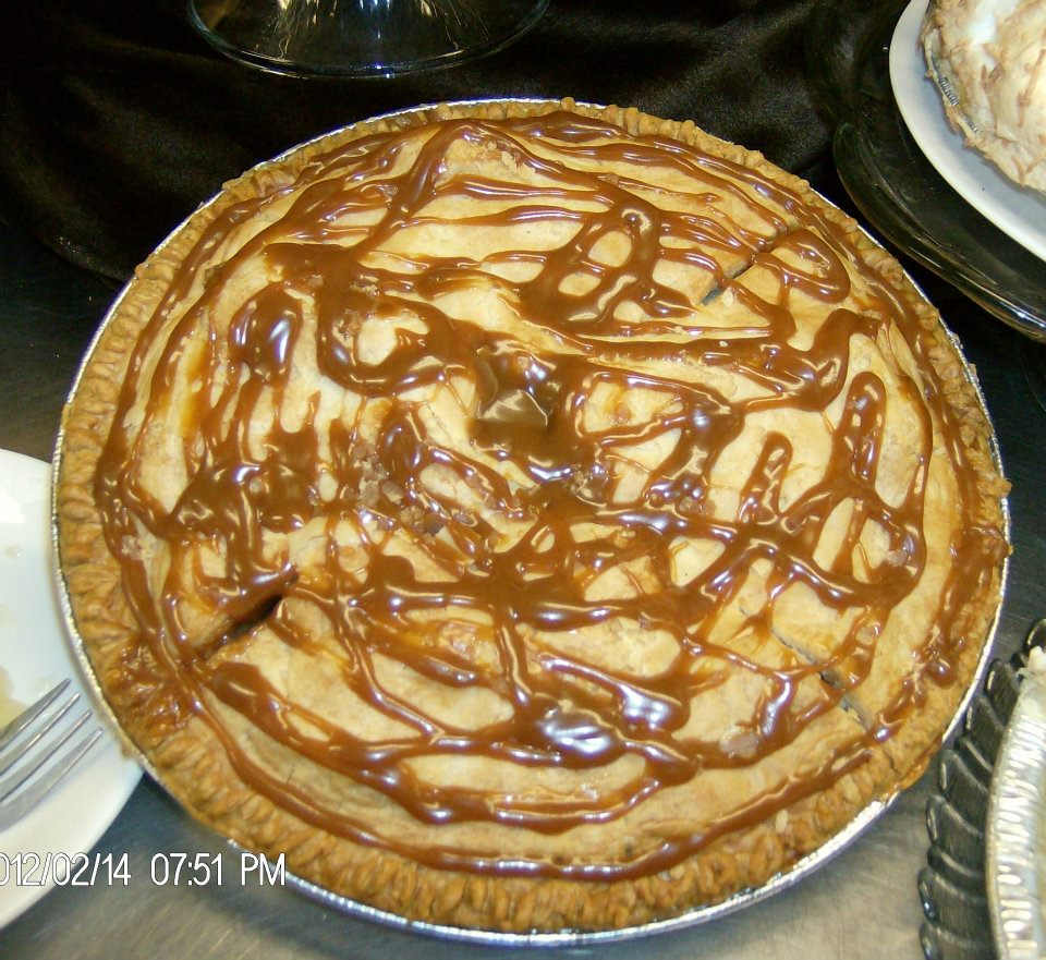 pie with caramel drizzle on top