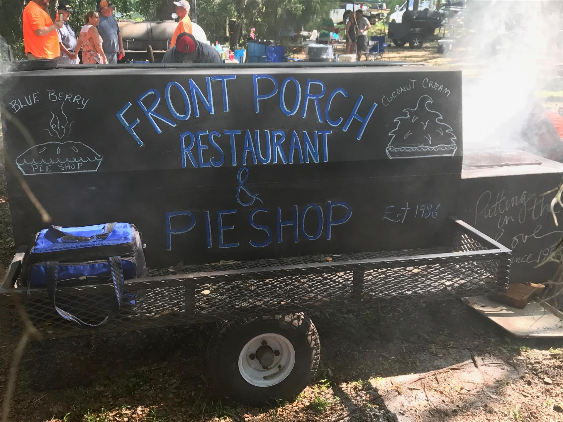 front porch pie shop sign on a smoker