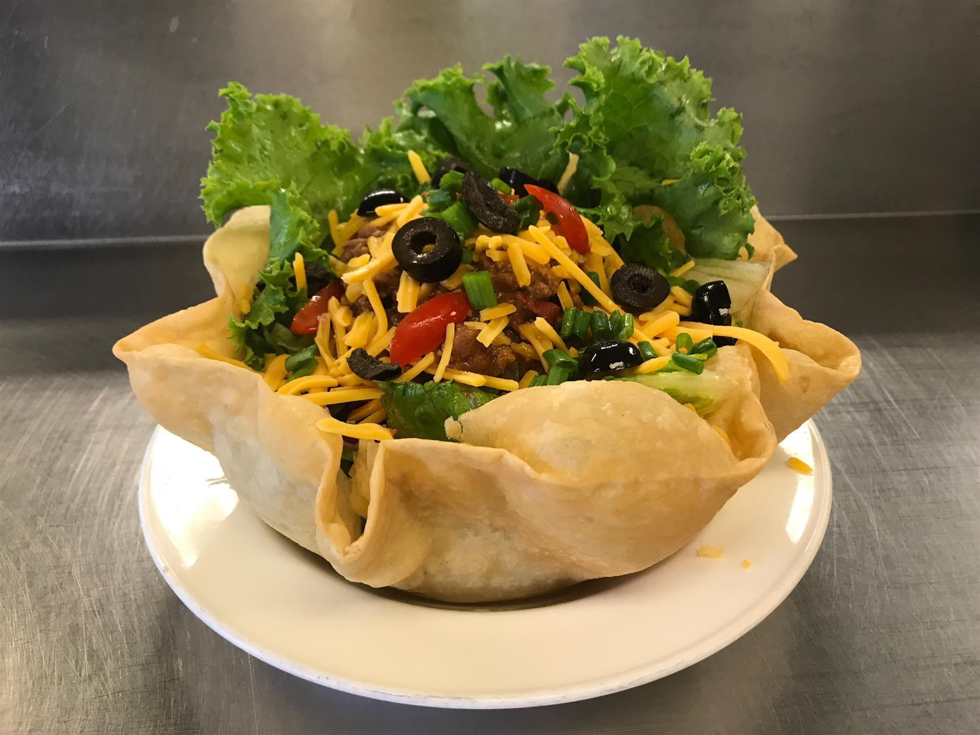 taco salad in a fried shell