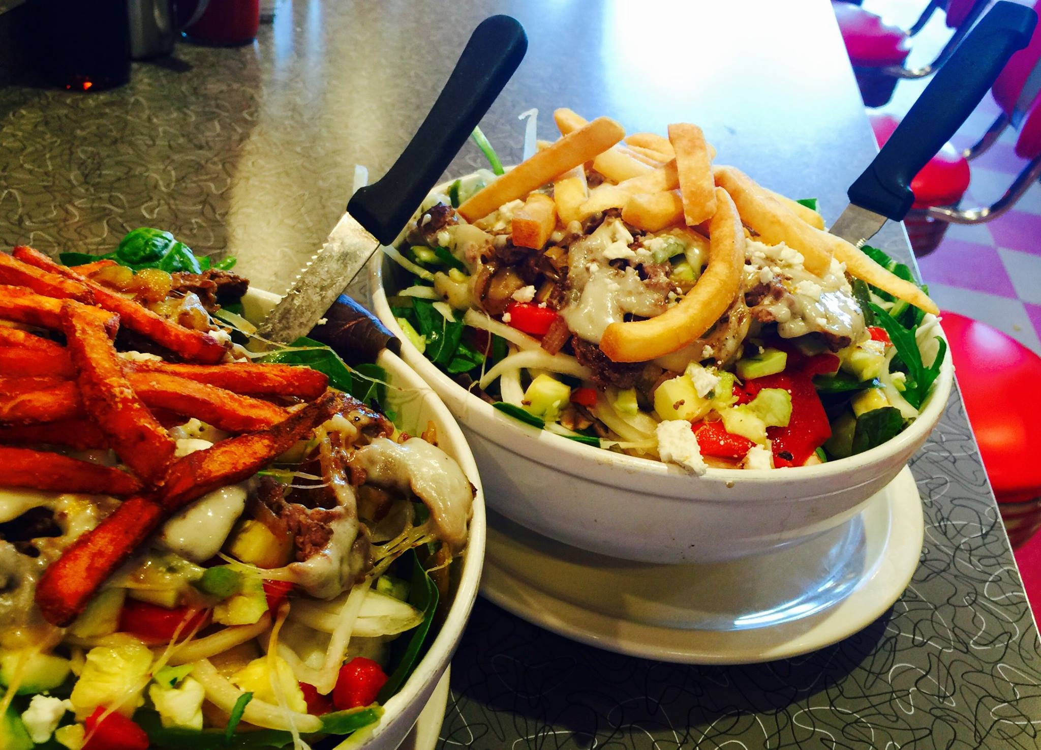 Bowl of salad with many toppings