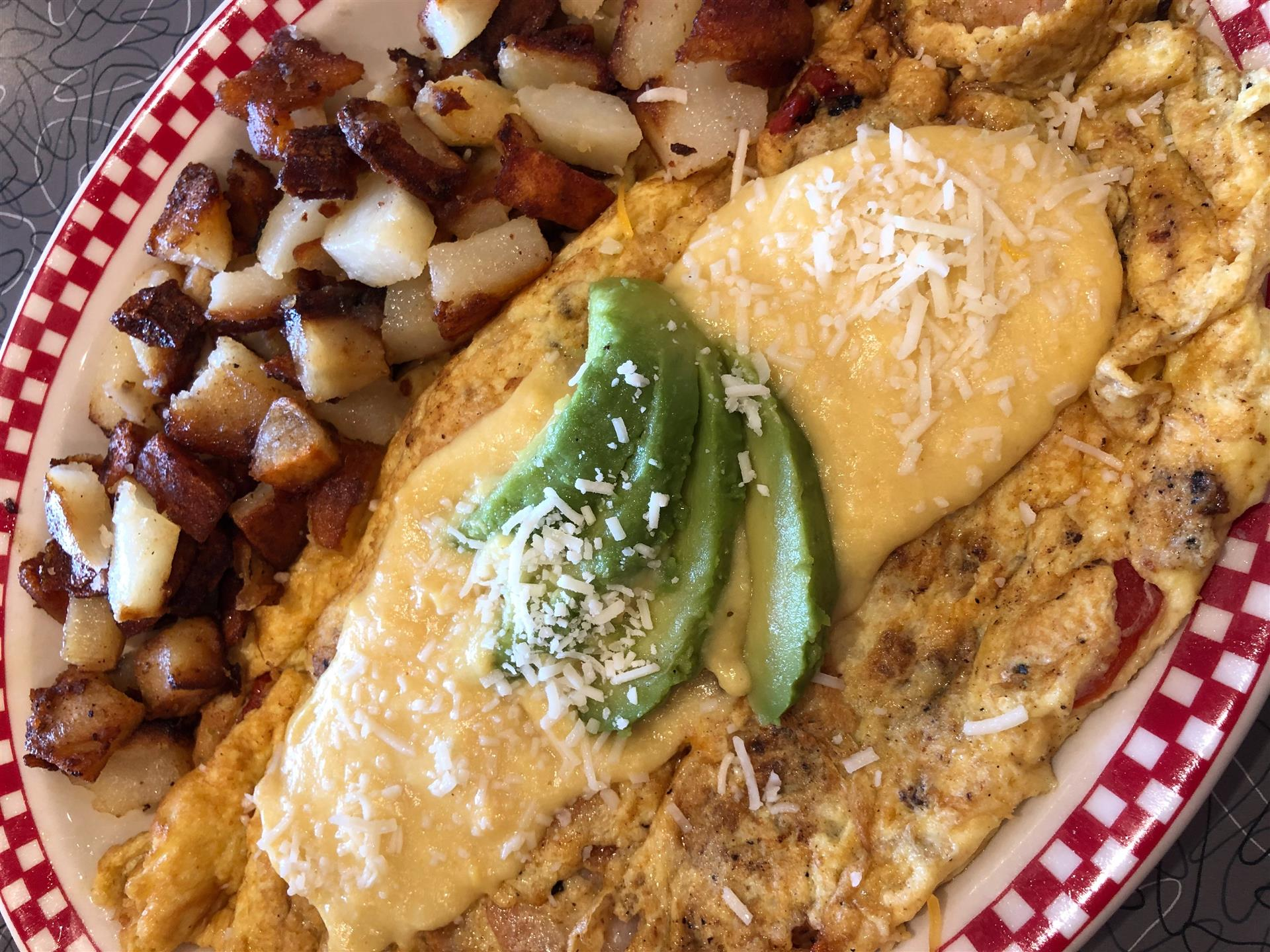 seafood omelet with a side of homefries