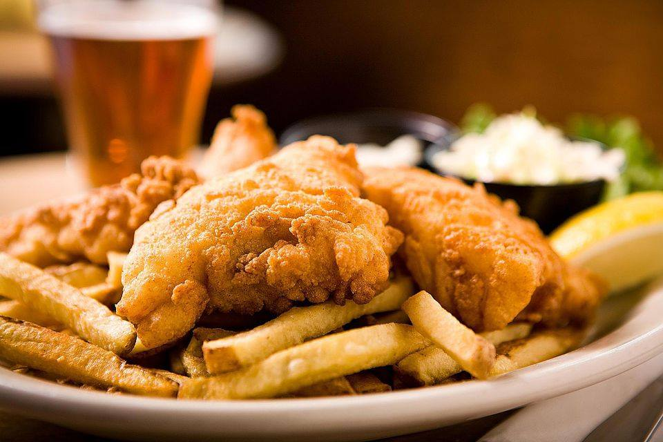 fish and chips with a pint of beer