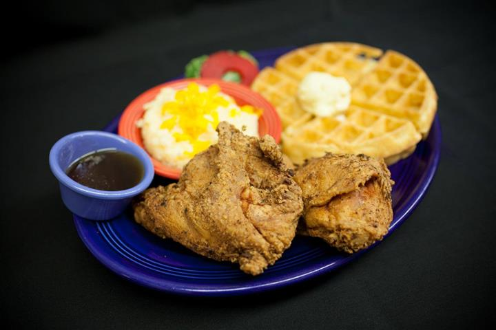 fried chicken with waffles