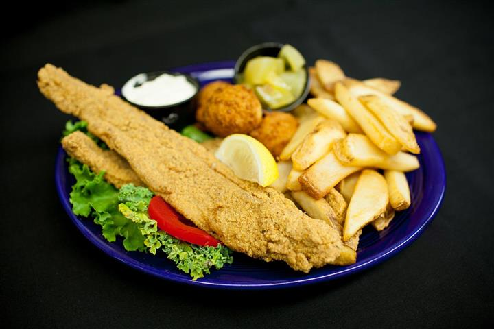 fried seafood platter with fries