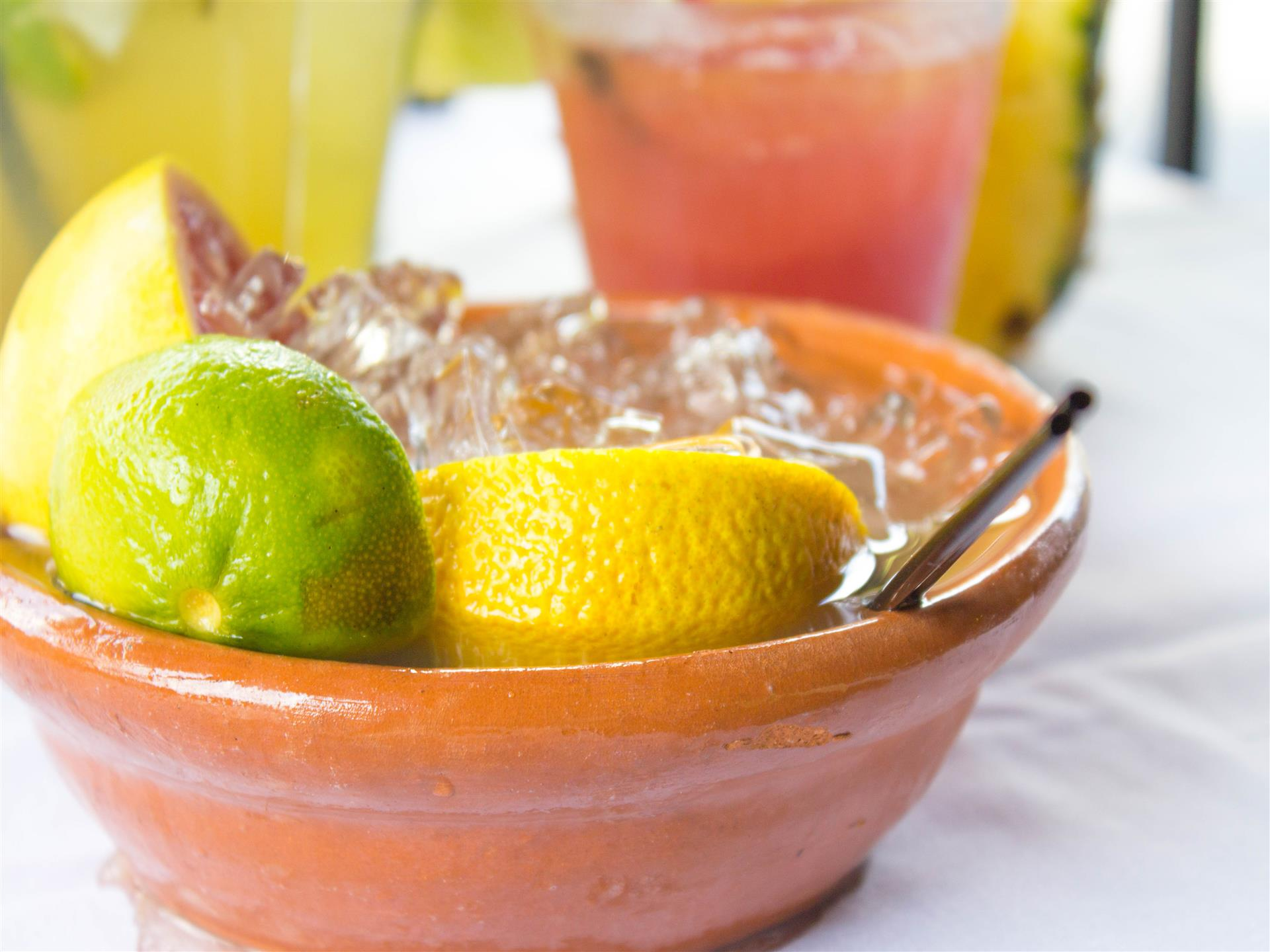 margarita bowl with lemon and lime slices