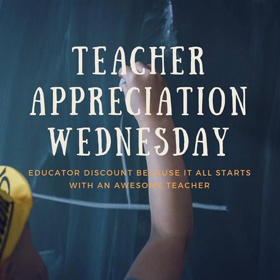 Teacher appreciation Wednesday, educators discount because it all starts with an awesome teacher