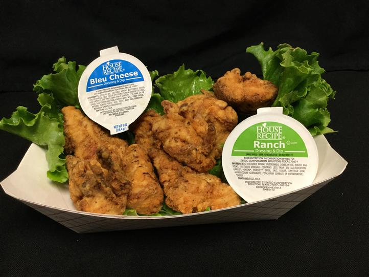 chicken tenders with bleu cheese and ranch dipping sauces
