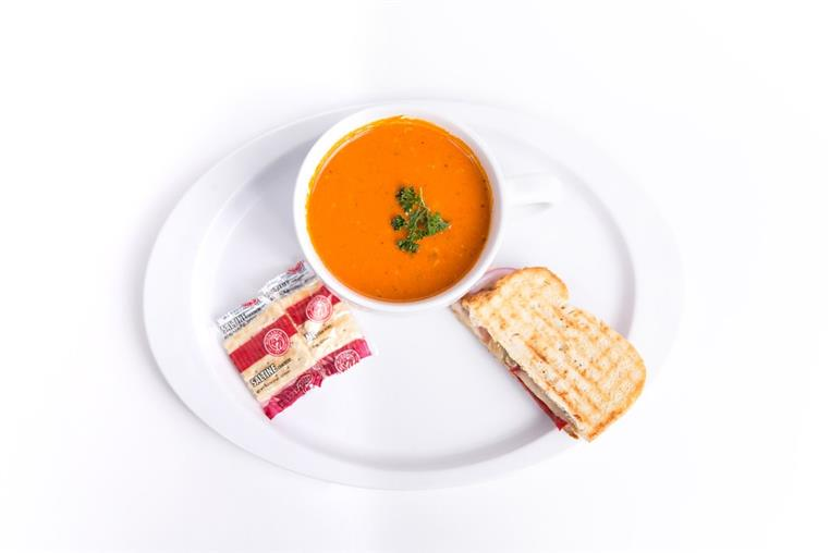 tomato soup with sandwich