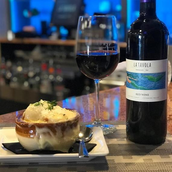 La Tavola red wine with French onion soup